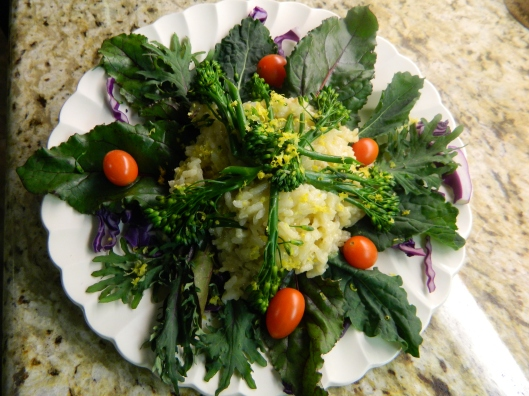 Lemon risotto warming two varieties of freshly picked baby kale and swiss chard greens.