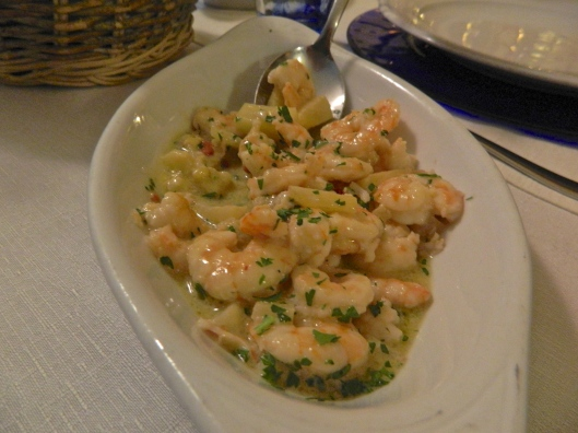 We did have a few cooked dishes like this shrimp with mint.