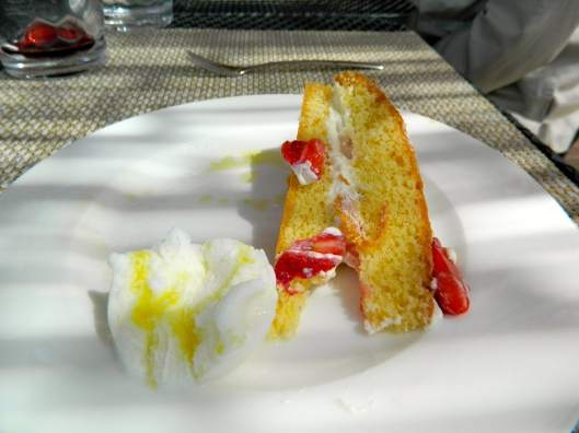Mandarin olive oi cake served with orange sorbet, drizzled with more olive oil!