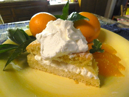 Garnished lemon olive oil cake with fresh orange slices and whipped cream.