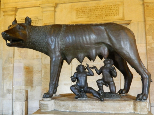 The emblem of Rome. Romulus and Remus nursed by the She-Wolf of Rome.