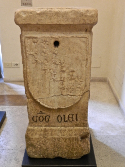 This olive oil urn to measured out the oil which was then decanted into a Roman's vase. Another large stone container measured wine.