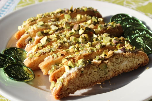 Pistachio and white chocolate studded biscotti - irresistible!
