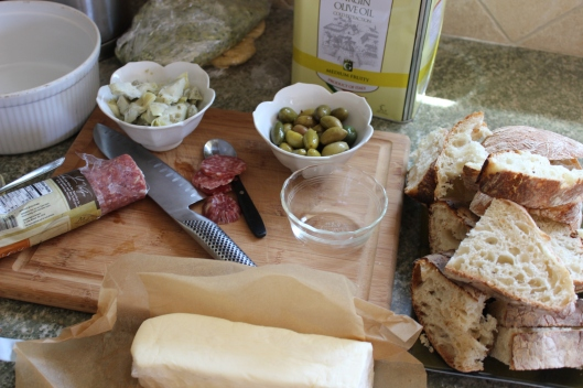 Our antipasto munchies. The butter is homemade by moi!