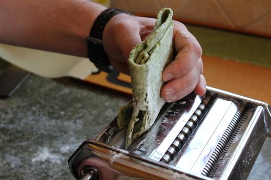 Folding the pasta.