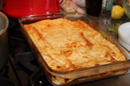 Mom's finished lasagne The secret ingredient is lemon peel and lemon juice stirred into the finished bechamel.