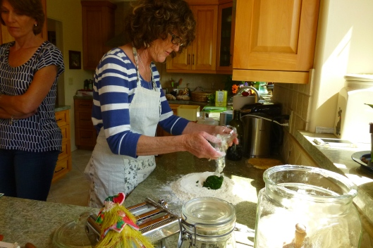Making spinach pasta - one of my favorites.