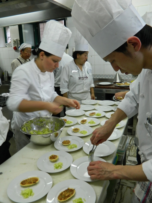 A last minute plating of the appetizer.