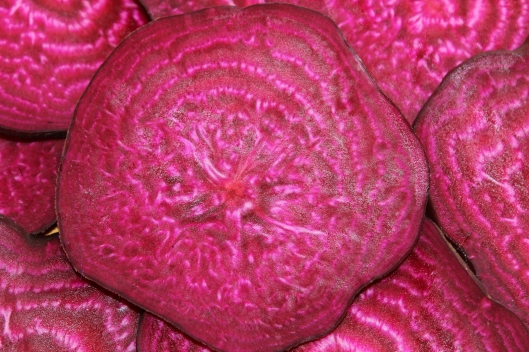 The ruby lines of my beet sing of nature's simplicity.