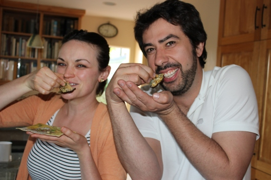 My friends Meghan and Nick devouring the shitake mushrooms al' Italiana