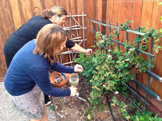 Nicole and Laurette pick ripe boysenberries to add color and flavor to their favorite cocktail.