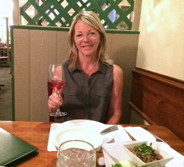 Liz setting her palate with a Tavel Rose.