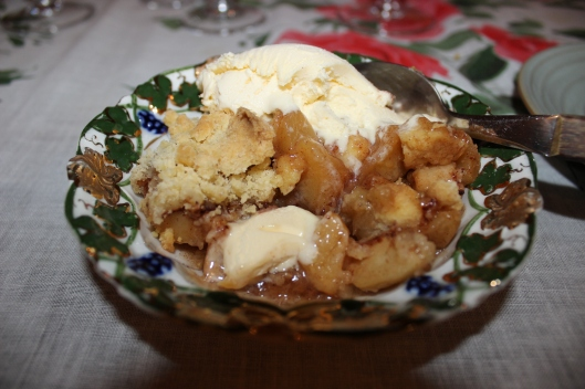 Mouth-watering apple crumble.
