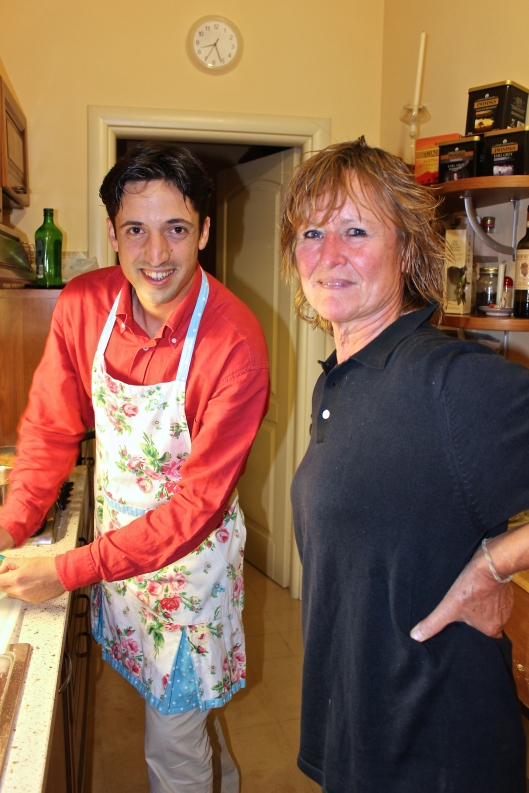 Angela has a kitchen chat with Mattia.