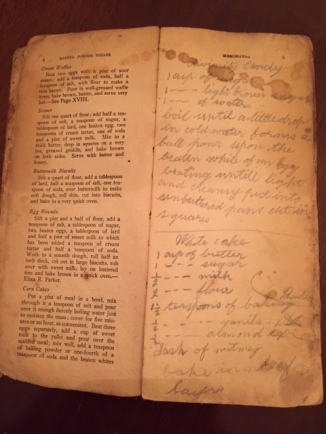 Carrie's notes and stained pages from use.